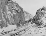 Alaska Railroad line near Mile 83 near Turnagain Arm, Alaska, ca. December 1917