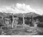 Woman and boy at overlook in Mount Revelstoke Park, ca. 1955
