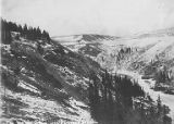 Snowy river valley near Alaska Railroad, seen from higher elevation, Fairbanks Division,...