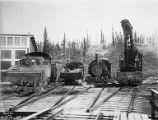 Alaska Railroad train yard, possibly in Nenana, Alaska, November 16, 1922