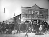 Miners in front of the Keewalik Hotel before leaving for the Kobuk River, Nome, Alaska, September...