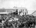 Man giving speech during patriotic event, Nome, Alaska, circa 1905