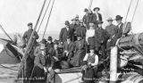 Nome townspeople, including Lomen brothers, aboard Captain Amundsen's ship GJOA, Nome, September...