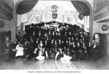 Group of people at Tivoli Gardens theater and cafe, Dawson, ca. 1898