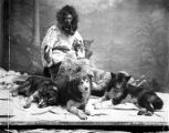 Member of the Nulato tribe with sled dogs, Alaska, circa 1906.