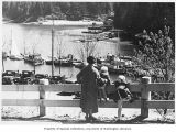 Mother and daughters looking down at Fisherman's Cove, West Vancouver, n.d.