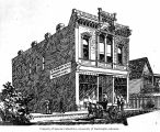 Architect's drawing of a building with sign for E. Pimbury and Company, Victoria, ca. 1885