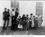 Aleut men and children, Saint George Island, 1896