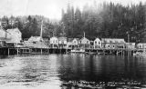 Alaska Restaurant and other water-front buildings scene from the water, Ketchikan, Alaska, ca....