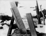 Wooden stakes in snow, possibly mining claim, Nome, Alaska, circa 1905.