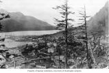 Bird's-eye view of Juneau and waterfront showing courthouse visible at center left, ca. 1925