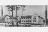 Architectural rendering of the Machinery Building, Alaska Yukon Pacific Exposition, Seattle,...