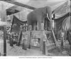 Fruit and nuts exhibit showing an elephant made of English walnuts, California Building,...