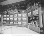 Exhibit of photos, hunting trophies and jars of grain, Grand Trunk Railway Building,...
