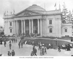 Oregon State Building with visitors walking the grounds in front, Alaska-Yukon-Pacific-Exposition,...