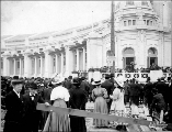 Edmond Meany addressing exposition stockholders, president of the Alaska-Yukon-Pacific Exposition,...