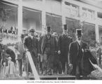 President Taft, J.E. Chilberg and other officials descending stairs outside of the New York State...