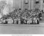 Large group of Smiths on Auditorium steps for Smith Family Day, Alaska-Yukon-Pacific-Exposition,...