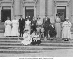 Smith Family Day prize winners on Auditorium steps, Alaska-Yukon-Pacific-Exposition, Seattle,...