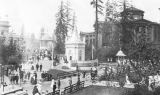 Forestry Building and Nome Circle with bandstand, Alaska-Yukon-Pacific Exposition, 1909