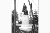 William Henry Seward statue being installed,  Alaska Yukon Pacific Exposition, Seattle, 1909.