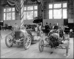 Ford Model T car no. 2 and the Shawmut car on display, Alaska Yukon Pacific Exposition, Seattle,...