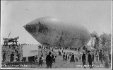 "Dirigible balloon """"Alaska Yukon Pacific Exposition"""" readying for takeoff,..."