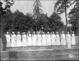 Ancient Order of United Workmen drill team, Alaska Yukon Pacific Exposition, Seattle, 1909.