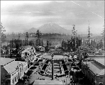 Aerial view of the Alaska-Yukon-Pacific Exposition looking toward Mt. Rainier, Seattle,...