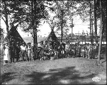 Members of the Wild West Show and Nez Perce Indians, on Ezra Meeker's Ranch, Alaska Yukon Pacific...