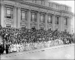 Grand Army of the Republic members in front of the Auditorium, Alaska Yukon Pacific Exposition,...