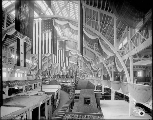 Agriculture Building interior showing exhibit booths under construction, Alaska-Yukon-Pacific...