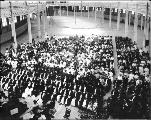 University of Washington Commencement exercises in the Manufactures Building,  Seattle, 1909.