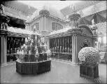 Exhibit of fruit and nuts in the California Building, Alaska Yukon Pacific Exposition, Seattle,...