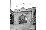 Vancouver, B.C. welcome arch for the Alaska-Yukon-Pacific Exposition spanning Marion St., ...