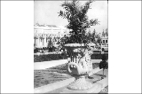 Ornamental urn located along the Cascades, Alaska Yukon Pacific Exposition, Seattle, 1909.