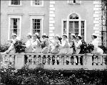Olympia High School girls posing outside the Education Building, Alaska Yukon Pacific Exposition,...