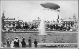 "Dirigible balloon """"Alaska Yukon Pacific Exposition in flight over the Court of Honor,..."