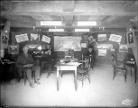 Interior of the Vancouver B.C. Daily World Headquarters Building, Alaska Yukon Pacific Exposition,...
