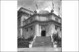 Corner steps of the United States Government Building, Alaska Yukon Pacific Exposition, Seattle,...