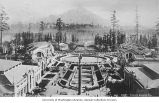 Bird's-eye view of Rainier Vista and grounds looking toward Mount Rainier,...