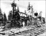 Locomotives of the Great Northern Railroad on display, Alaska Yukon Pacific Exposition, Seattle,...
