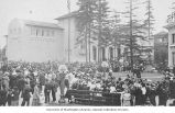 Crowd of visitors in front of the California State Building, Alaska-Yukon-Pacific-Exposition,...