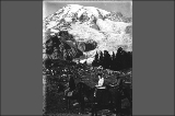 Two men and one woman on horseback, Mount Rainier National Park, Washington, ca. 1910.