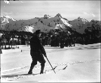 Man skiing, Mount Rainier National Park, Washington, ca. 1907.