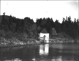 Blockhouse viewed from water, English Camp, San Juan Island, Washington, ca. 1910