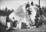Men with ladders and stone cutting tools quarrying large rock, Bismarck, Washington, ca. 1905