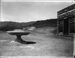 Maryhill store and post office with circular drinking trough and fountain, Columbia River,...