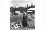 Grandmother Longmire at Longmire Springs, Mount Rainier National Park, Washington, ca. 1906.