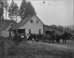Gathering of people outside of farm house possibly for funeral service, Washington, ca. 1906.